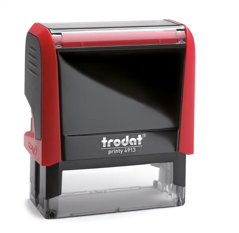 TRODAT PRINTY 4913 Timbro Autoinchiostrante Rettangolare Rosso Fuoco 58×22 mm Testo a 5-6 righe con Cartuccia Nera